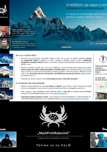 Motivační přednáška o boji s rakovinou o vzájemné spolupráci na Cho Oyu (8201 m)